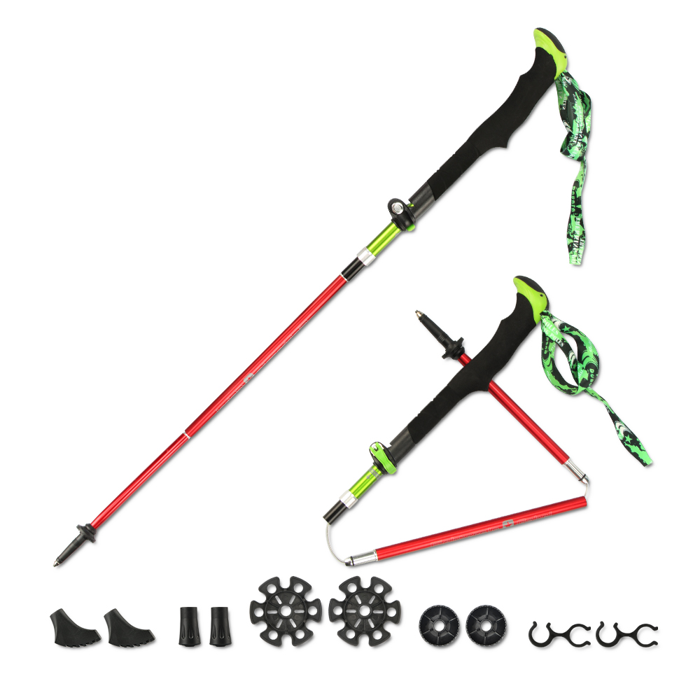 Click here to buy Folding Collapsible Trekking Hiking Poles, with Ergonomic EVA Handle Tri-Fold Adjustable Alpenstocks for Travel Hiking....