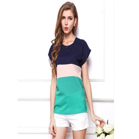f3d3f6d53db Women Summer Stripe Chiffon T-Shirt Short Sleeve Casual Tops Blouse nbsp    nbsp  - Walmart.com
