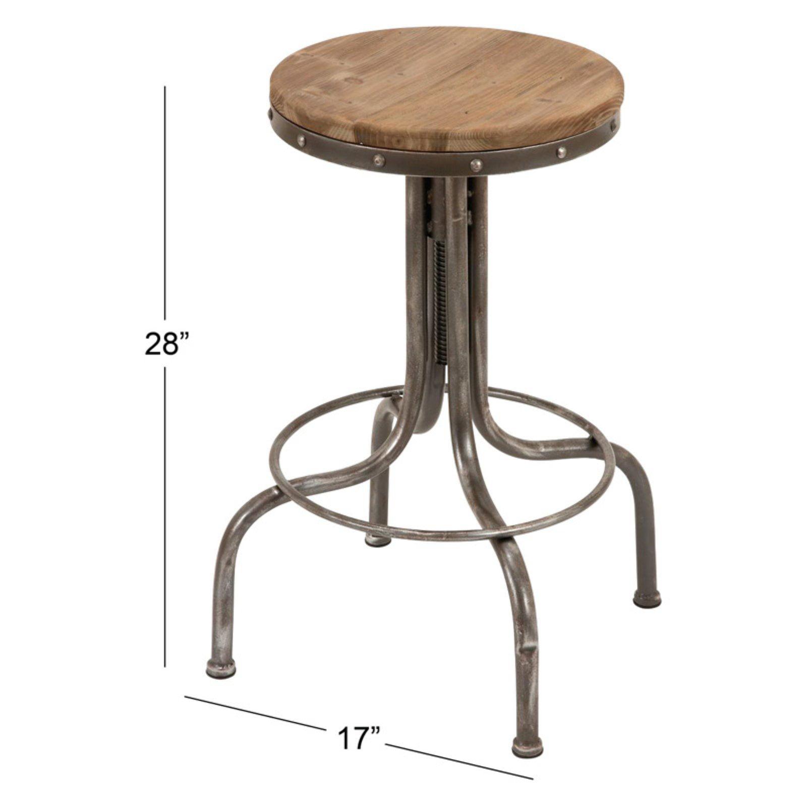 Astounding Decmode 17 X 28 Round Industrial Natural Wood Silver Adjustable Metal Bar Stool Machost Co Dining Chair Design Ideas Machostcouk