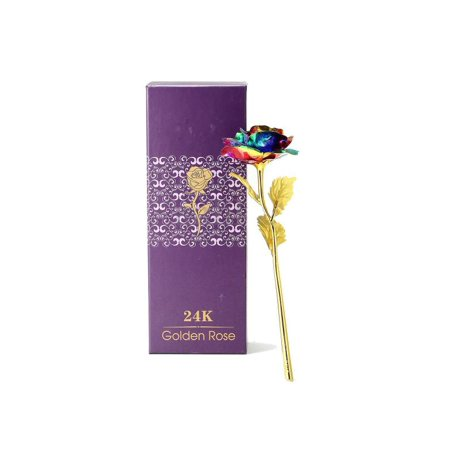 Valentine's Day Birthday / Wedding Gift 24k Colorful Gold Rose Flower Golden Dipped With Box Unique Gift - Diy Valentine Box