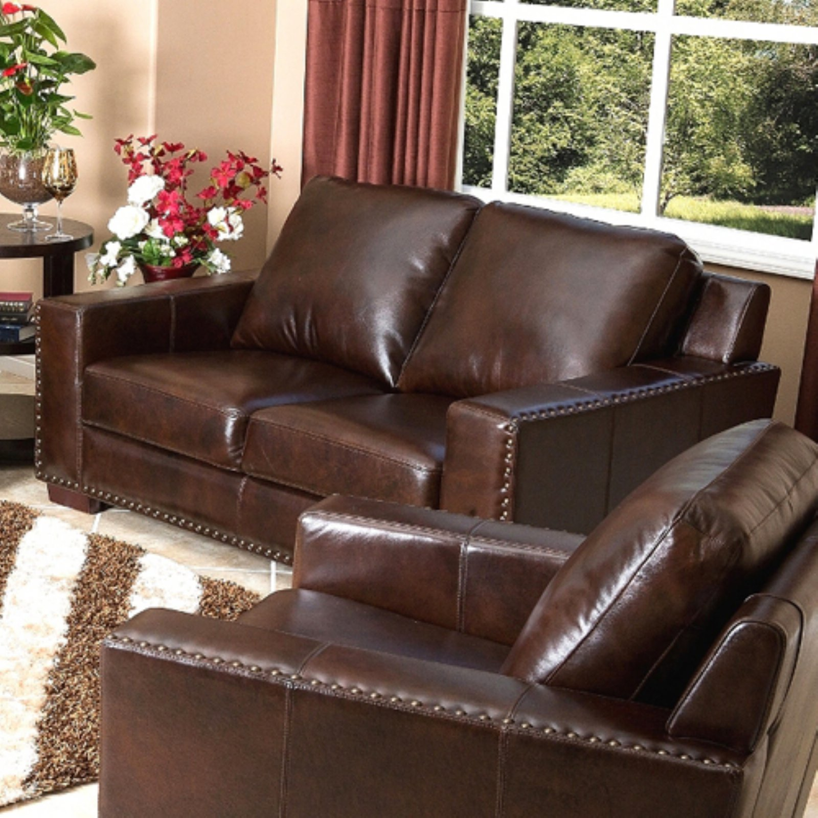 Abbyson Beverly Hand Rubbed Leather Loveseat - Espresso Brown