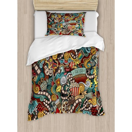 Doodle Duvet Cover Set, Cinema Items Combined in an Abstract Style Popcorn Movie Reel The End Theatre Masks, Decorative Bedding Set with Pillow Shams, Multicolor, by Ambesonne - Doodle Duvet Cover
