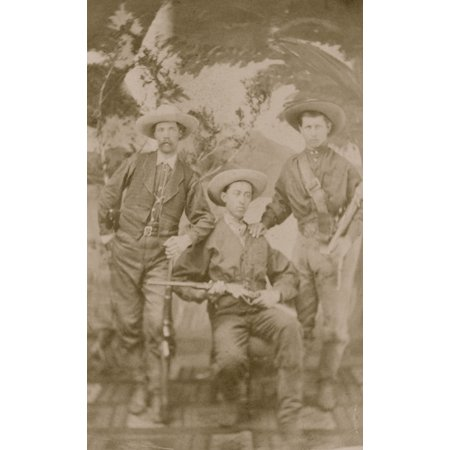 Carte De Visite Of Three Well Armed Cowboys Or Buffalo Hunters To