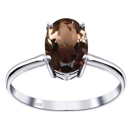 925 Sterling Silver Engagement Ring for Women|  Brown Smoky Quartz  Birthstone Ring| Prong  with seamless Silver Finish|Orchid Jewelry