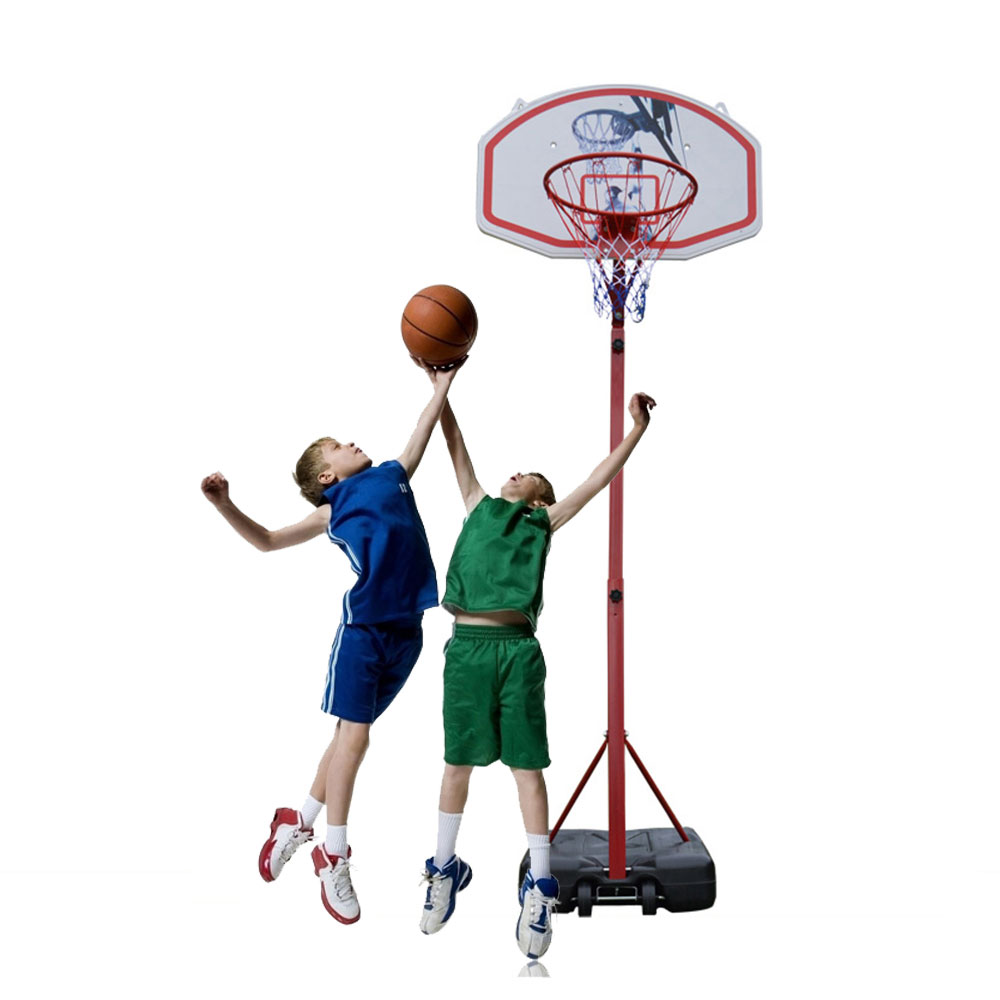Zimtown Portable Basketball Goal Stand, 6.9-8.5ft Height Adjustable Basketball Hoop System with Wheels, Net, Rim, Backboard, for Adult Teen Indoor / Outdoor Backyard Playing