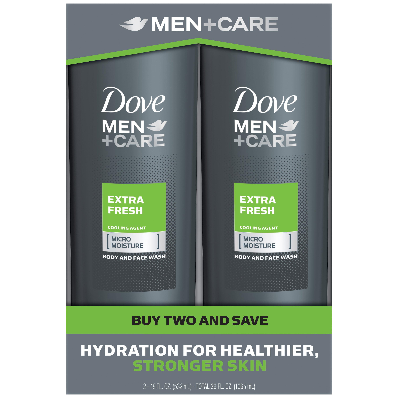 Dove Men+Care Extra Fresh, Men's Body Wash, 18 oz, Twin Pack