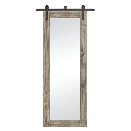 Large Wall Mirror in Salvaged Gray Oak and Bronze