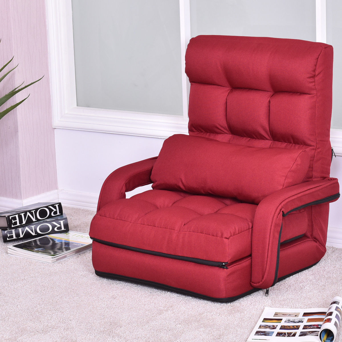 Costway Folding Lazy Sofa Lounger Bed Floor Chair Sofa with Armrests and pillow,Beige ,Red,Blue