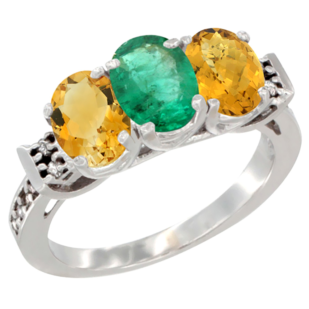 10K White Gold Natural Citrine, Emerald & Whisky Quartz Ring 3-Stone Oval 7x5 mm Diamond Accent, sizes 5 10 by WorldJewels