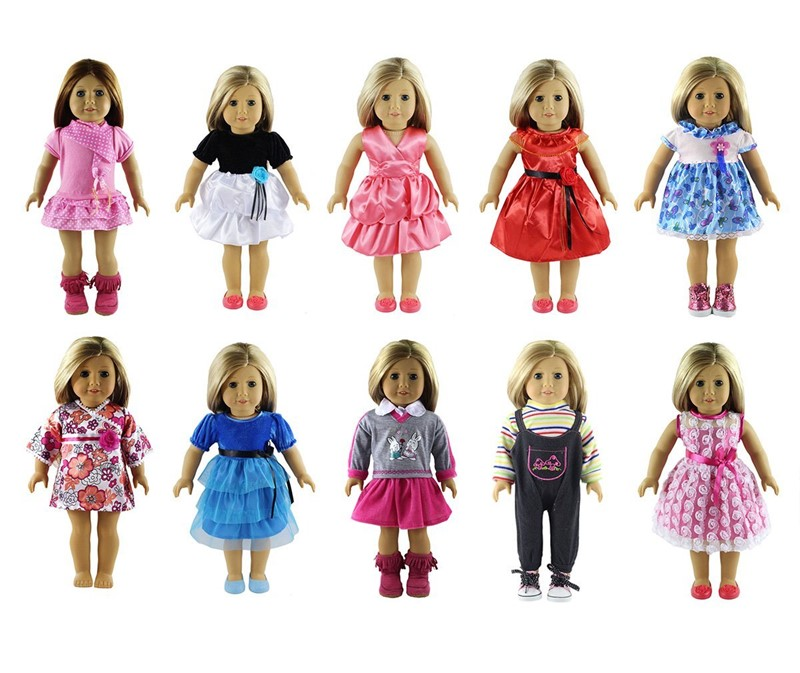 18 inches Doll Clothes 10 Different Unique Styles Well Fit for American Girls Doll, Doll... by