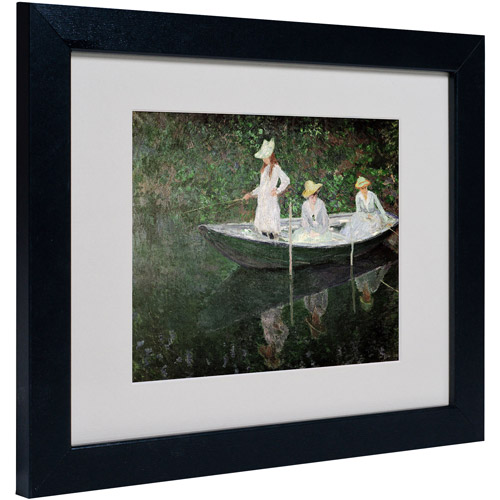 "Trademark Fine Art ""The Boat at Giverny"" Matted Framed Canvas Art by Claude Monet"