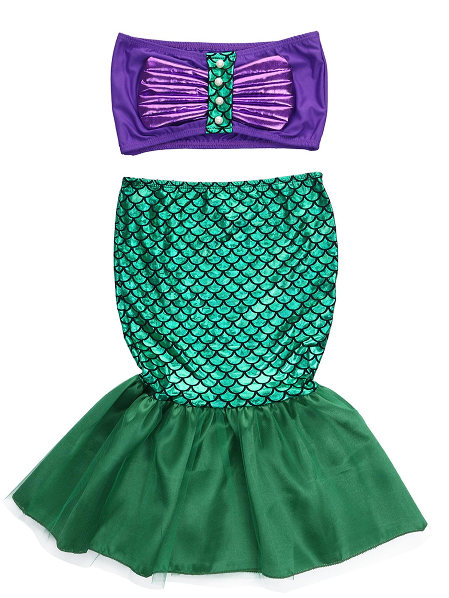 StylesILove Little Girl Princess Mermaid Swimwear Bikini 2 pcs Set Costume (130/6)