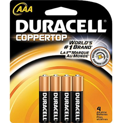 Duracell 4 Pack AAA Alkaline Batteries Retail Package