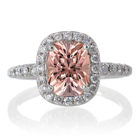 1.5 Carat Cushion Cut Morganite Antique Diamond Engagement Ring on 10k White Gold 10k Antique Ring