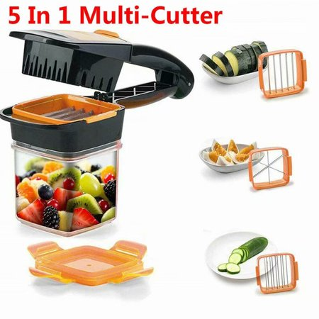 VicTsing 5 in 1 Multifunctional Quick Stainless Food Fruit Vegetable Cutter Slicer Chopper Nicer Dicer with Container (Best Vegetable Chopper Dicer)