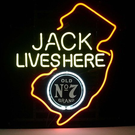 Desung Brand New Jack Daniels Lives Here New Jersey Old Number 7 No. 7 #7 Whiskey Neon Sign Lamp Glass Beer Bar Pub Man Cave Sports Store Shop Wall Decor Neon Light 17