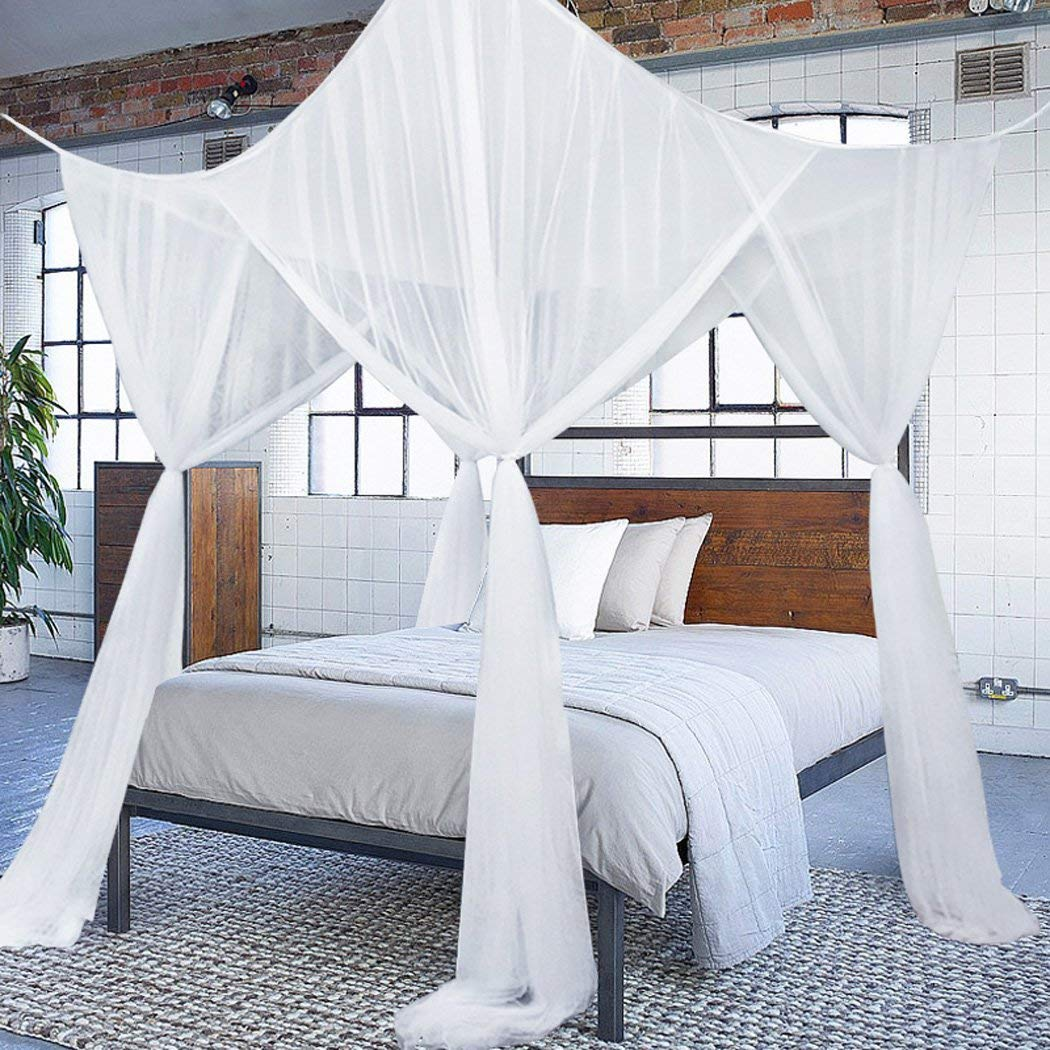 Princess 4 Corners Post Bed Curtain Canopy Mosquito Netting