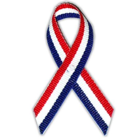 - Red/White/Blue American Flag USA Cloth Awareness Ribbon - 25 Pack w/ Safety Pins