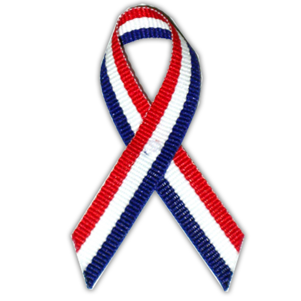 Red/White/Blue American Flag USA Cloth Awareness Ribbon - 25 Pack w/ Safety Pins