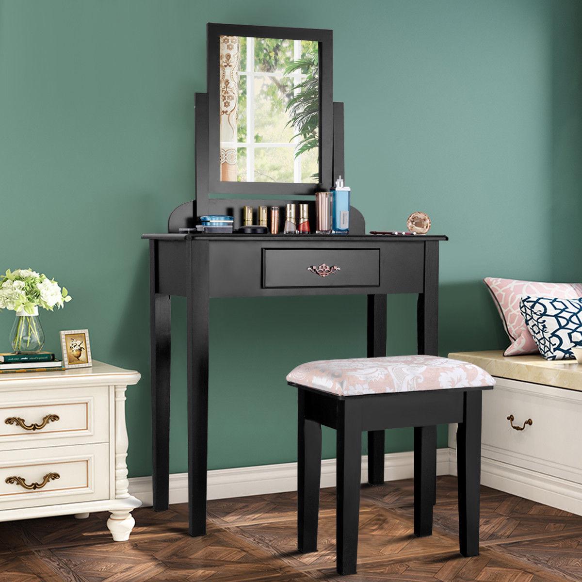 Costway Makeup Desk Vanity Dressing Table Set W/Square Mirror Stool 1 Large Drawer Black