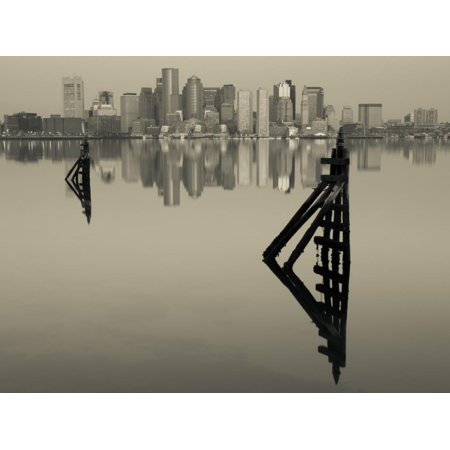 East Boston, Financial District from Logan Airport, Boston, Massachusetts, USA Print Wall Art By Walter (Boston Airport Stores)