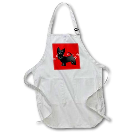 3dRose Cute Black Scottie - Cartoon Dog - Red with Pawprints - Full Length Apron, 24 by 30-inch, White, With Pockets