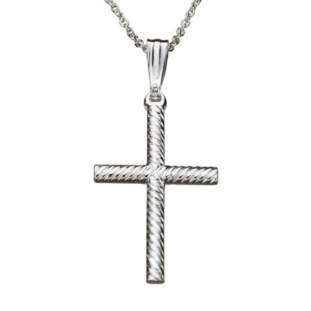 Sterling Silver Rope Cross Pendant Cable Chain Necklace Italy 16""