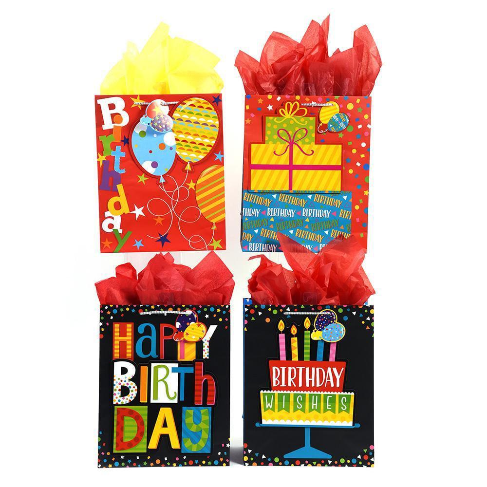 Extra Large Matte Finish Balloon Stars Pop Layer Happy Birthday Gift Bag