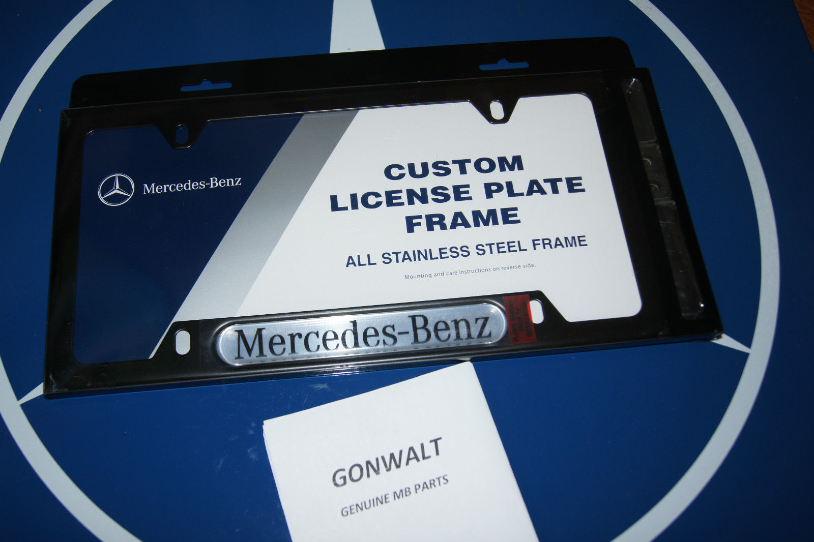 Mercedes Benz Genuine OEM Black Stainless Steel License P..