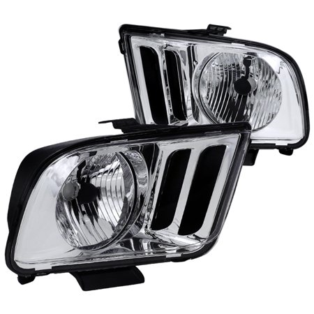 09 Mustang - Spec-D Tuning Oem 2005-2009 Mustang Chrome Crystal Headlights Lamps Clear Lens 05 06 07 08 09 (Left + Right)
