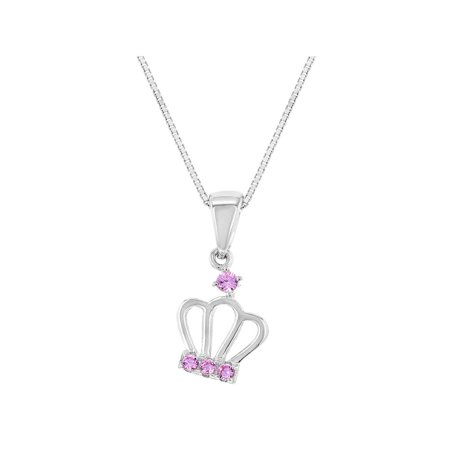 """925 Sterling Silver Pink CZ Queen Princess Crown Pendant Girls Kids Necklace 16"""""""