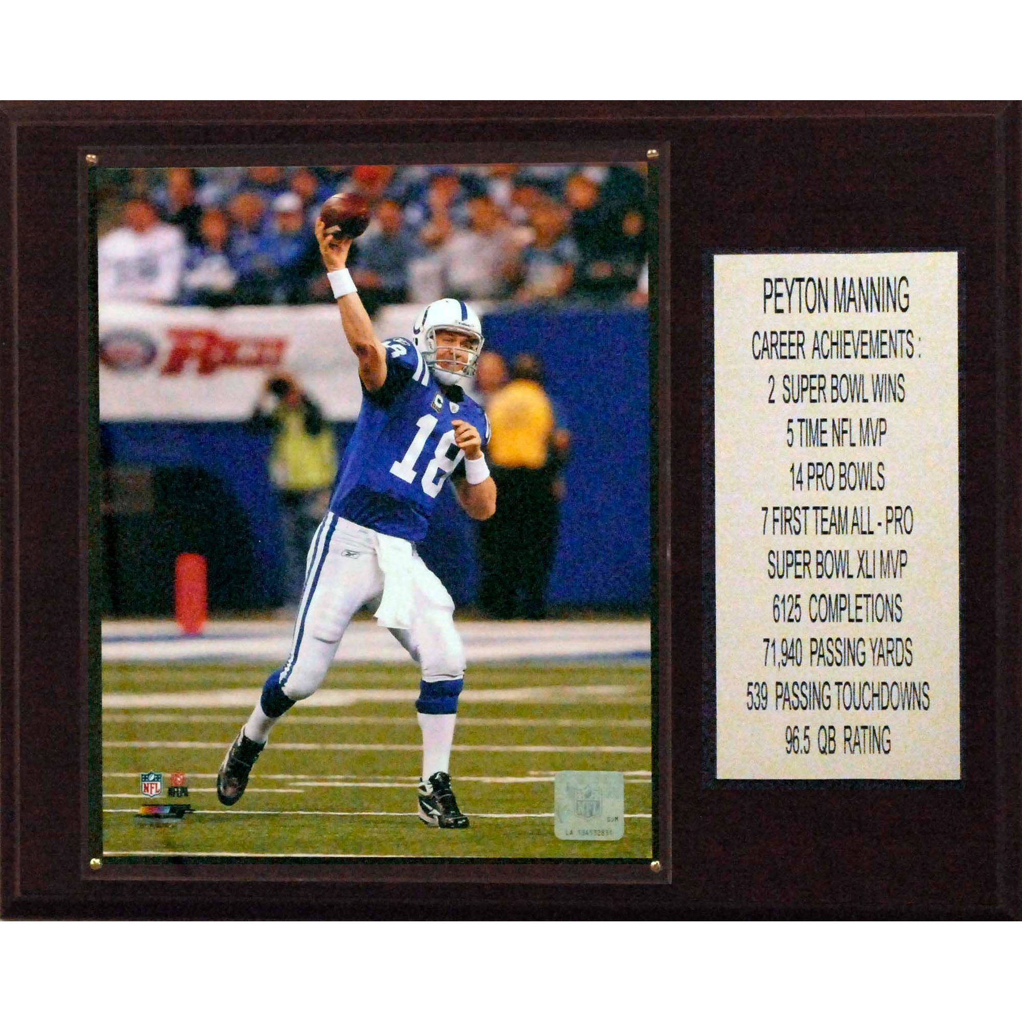 C&I Collectables NFL 12x15 Peyton Manning Indianapolis Colts Career Stat Plaque