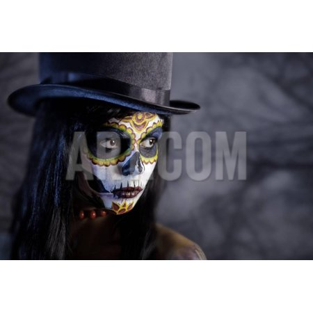 Sugar Skull Girl in Tophat in the Forest, Halloween Theme Print Wall Art By Elisanth