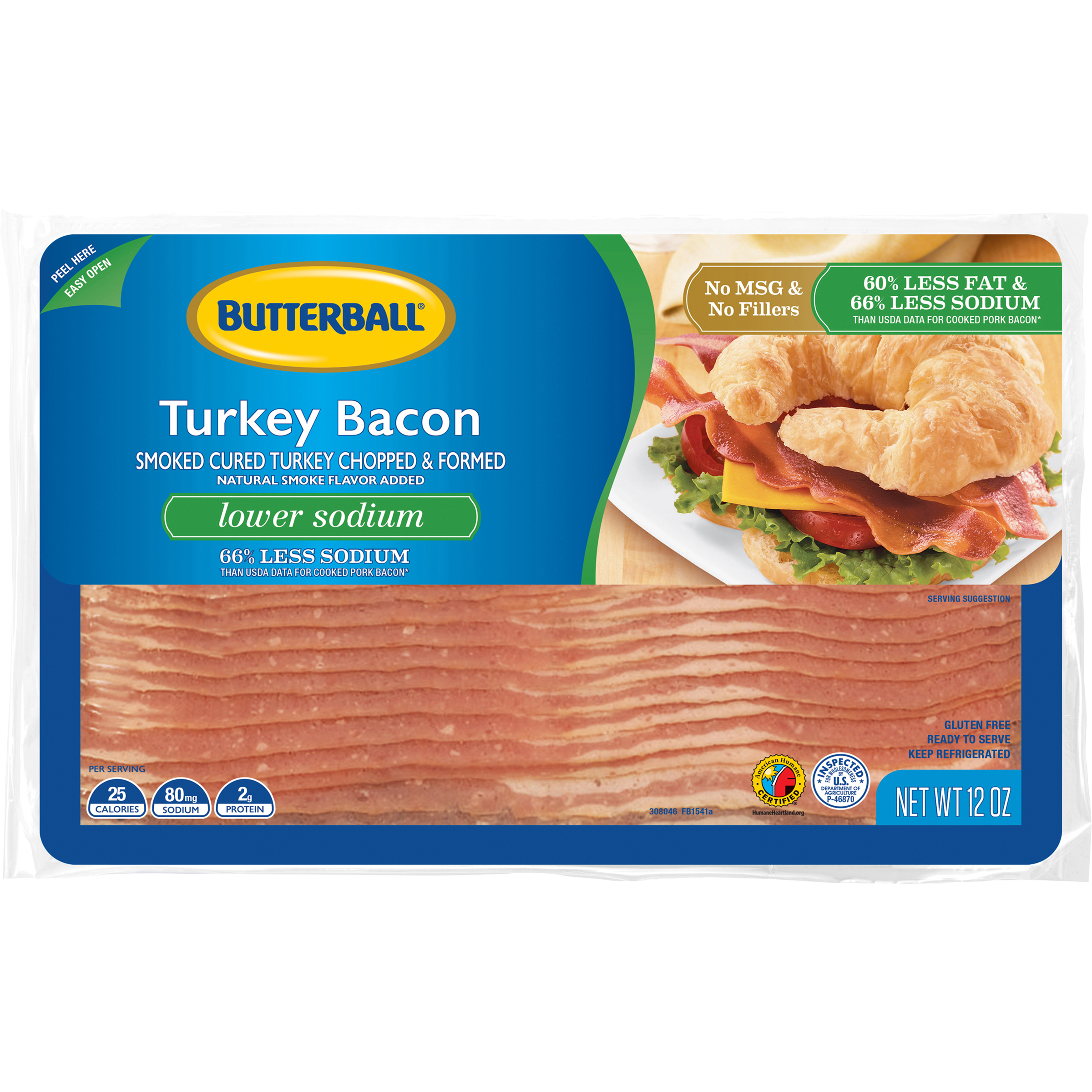 Butterball Lower Sodium Turkey Bacon, 12 Oz.