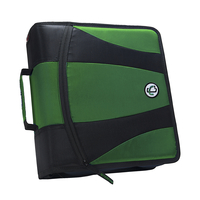 Case-It Dual Ring Zipper Binder, D-Ring, 2 Inches, Kelly Green
