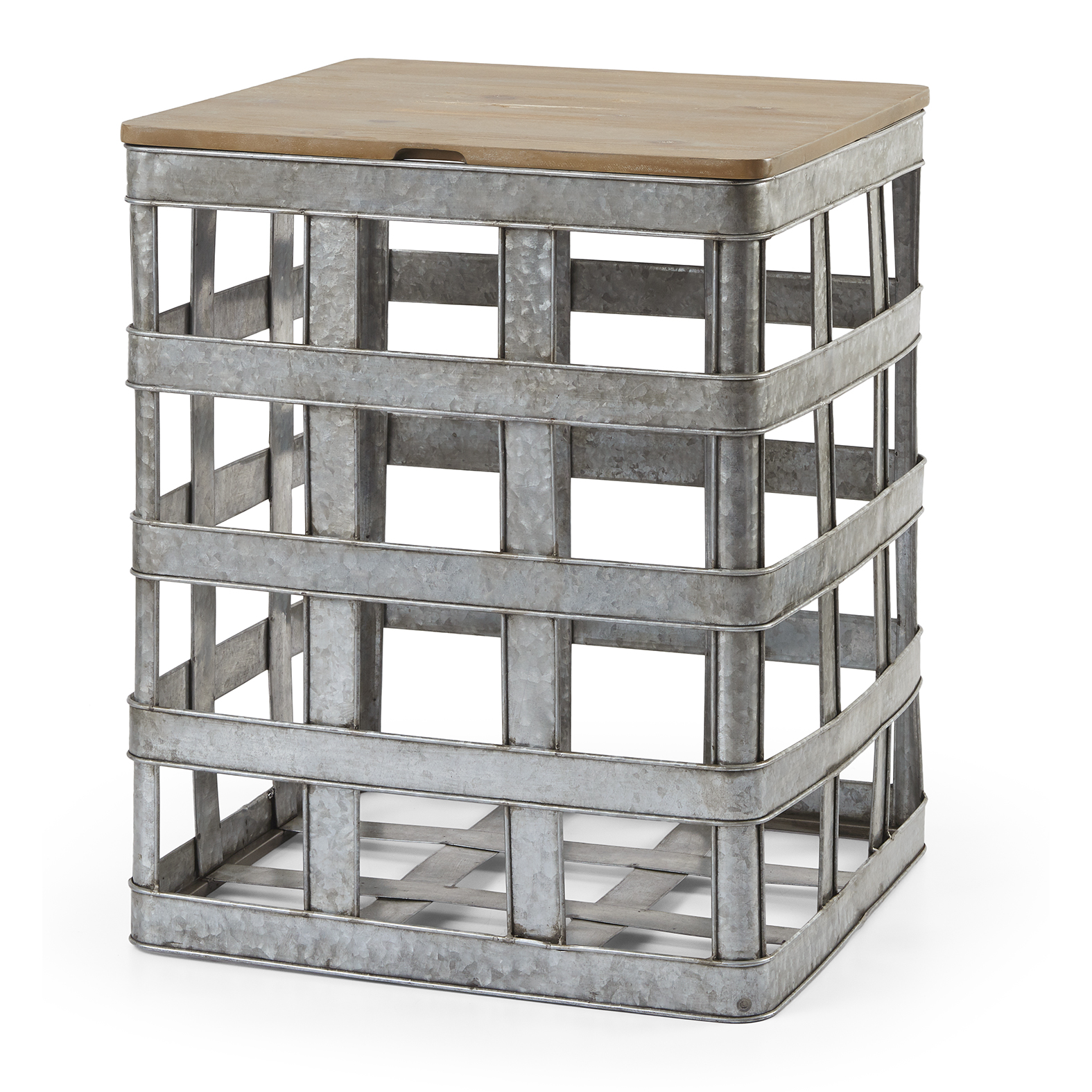 Lift Top Accent Table Side End Nightstand Wood Galvanized