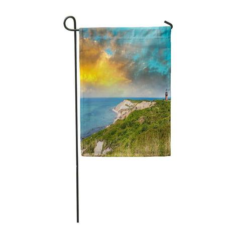 LADDKE Blue Cod Coastal Lighthouse Sunset Martha Vineyard Ma Green Cape Garden Flag Decorative Flag House Banner 28x40 inch