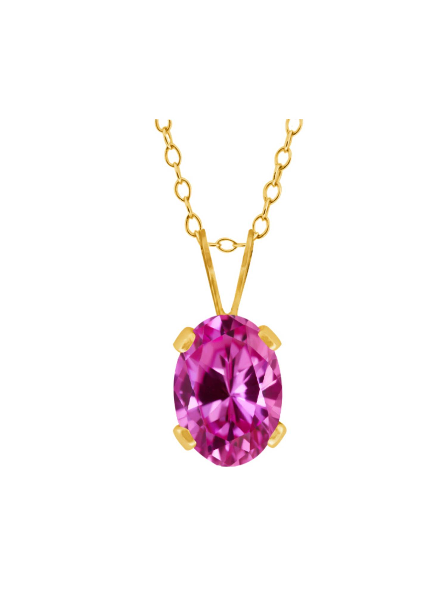1.00 Ct Oval Pink Created Sapphire 18K Yellow Gold Pendant With Chain by