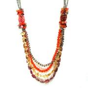 Aeravida Handmade Cascading Mix Stones Statement Layer Necklace (Thailand)