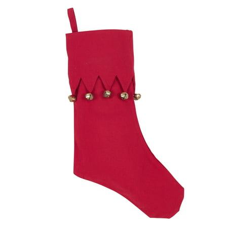 Jingle Stocking - Saro Lifestyle Jingle Bell Accent Cotton Christmas Stocking