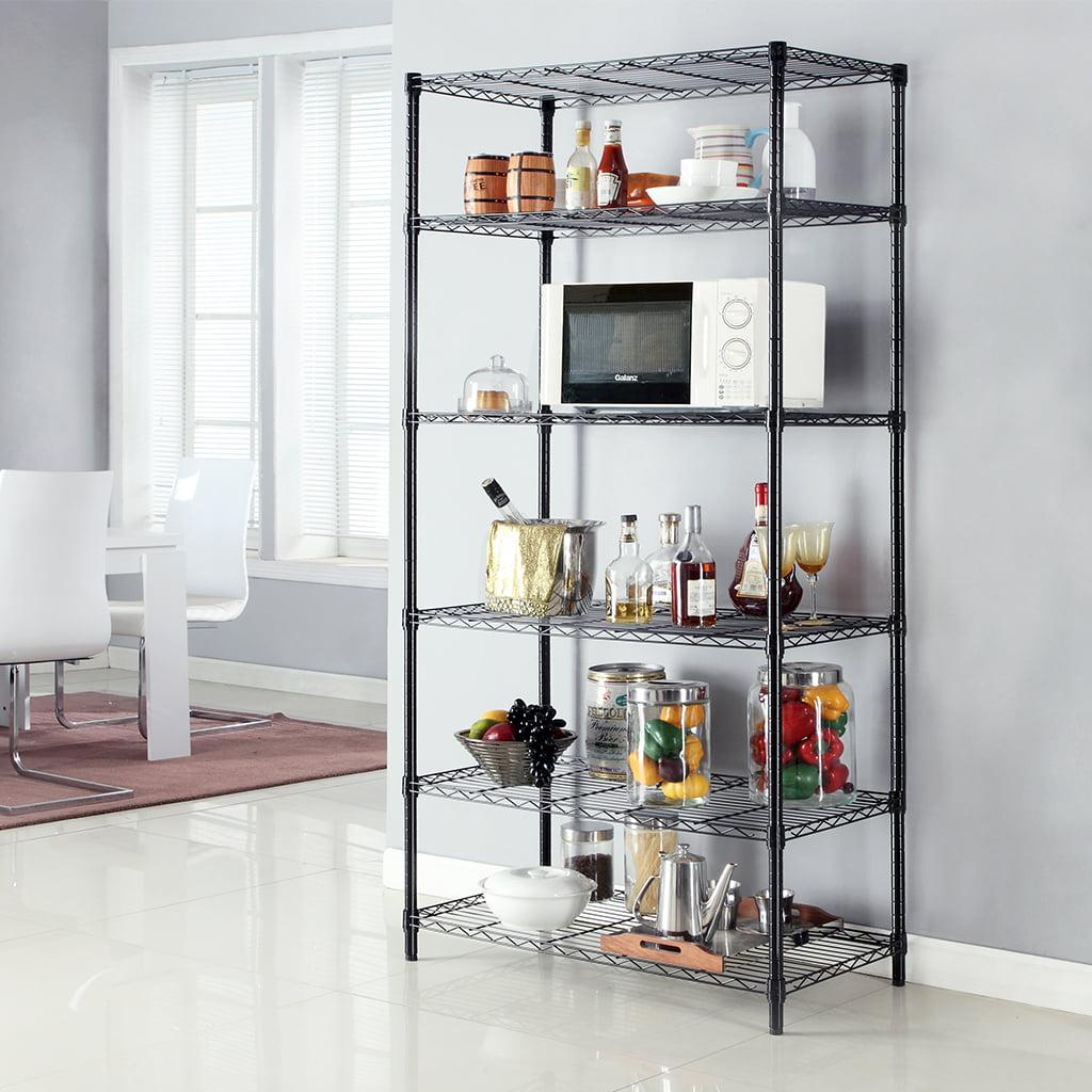 6 Tier Wire Shelving Metal Wire Shelf Storage Rack Durable Organizer