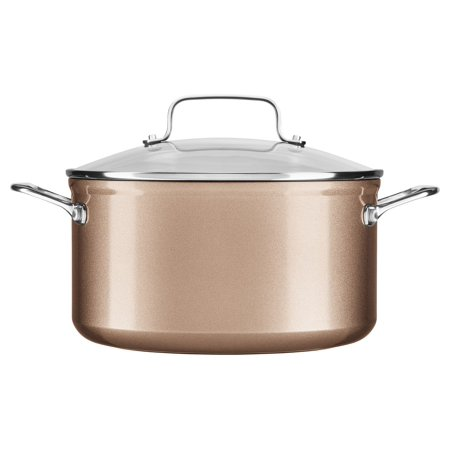 Kitchenaid Hard Anodized Nonstick 6.0-Quart Low Casserole With Lid, Toffee Delight (Kc3H160Lctz)