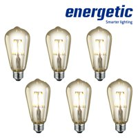 Energetic LED 6W Filament Vintage ST19, Amber Glass, E26 Base, 2200K, Dimmable, UL listed, 6-count