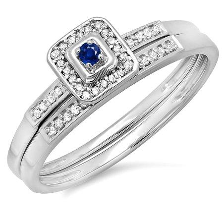 10K Gold Round Blue Sapphire And White Diamond Halo Engagement Wedding Bridal Ring Set