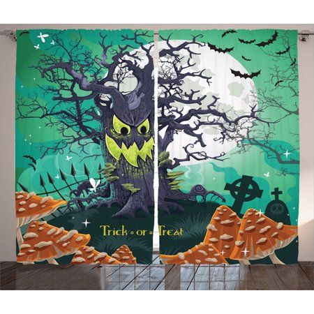 Halloween Decorations Curtains 2 Panels Set, Trick or Treat Dead Forest with Spooky Tree Graves Big Kids Cartoon Art, Window Drapes for Living Room Bedroom, 108W X 84L Inches, Multi, by Ambesonne](Halloween Decorations For Living Room)