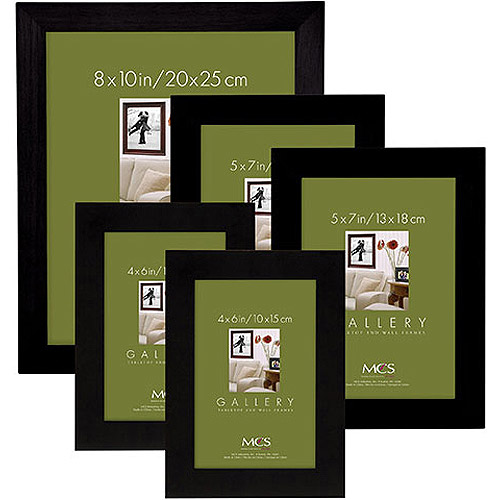 Flat Top Wood Black Picture Frame Set, Set of 5