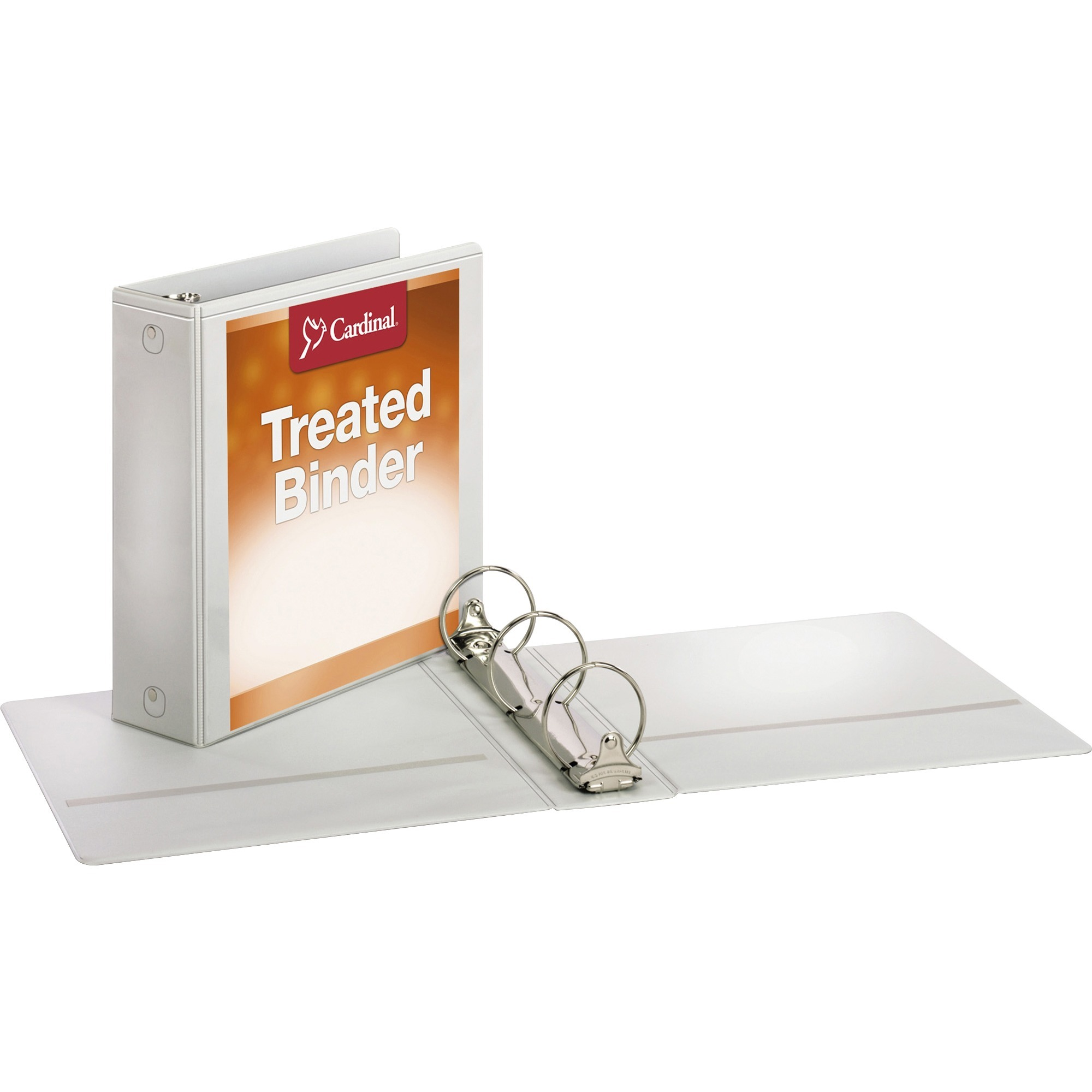 """Cardinal Treated Binder ClearVue Locking Round Ring Binder, 3"""" Cap, 11 x 8 1 2, White by TOPS Products"""