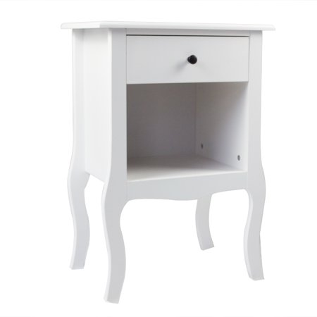 European Bedside Table-One Pump White