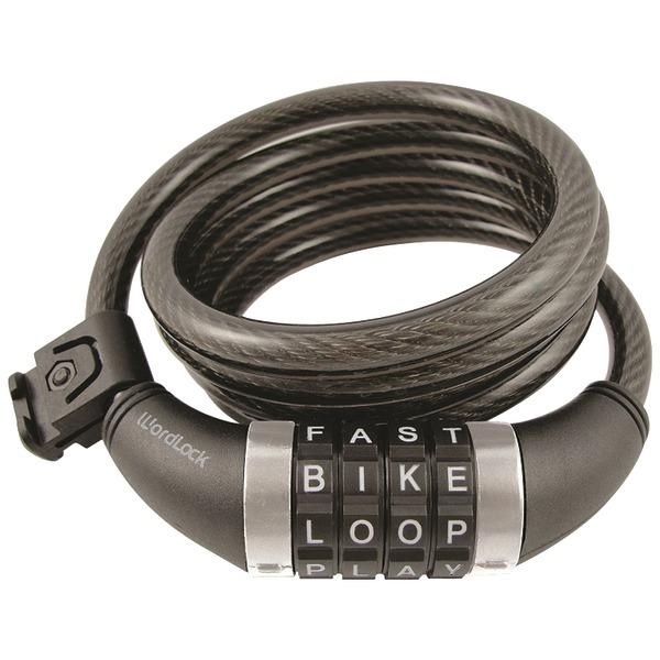 Wordlock Combination Resettable Cable Lock [black] - Resettable - 4-digit Combination Lock - Black, White - Stainless Steel, Vinyl - 5 Ft - For Bike (cl-411-bk)