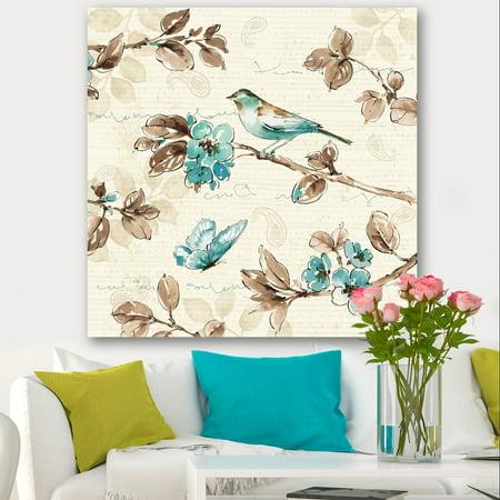 Blue Bird Cottage - DESIGN ART Designart 'Beige Bird Wings' Cottage Premium Canvas Wall Art - Blue
